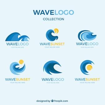 Pack abstract waves logos