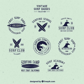Pack cute retro badges of surf