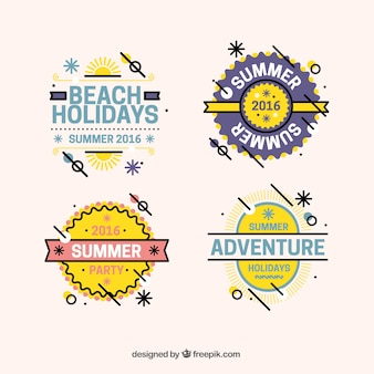 Pack decorative summer badges in modern style