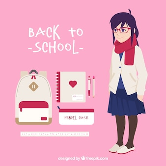 Pack girl with uniform and backpack with other elements