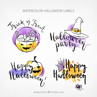 Pack halloween stickers with sketches