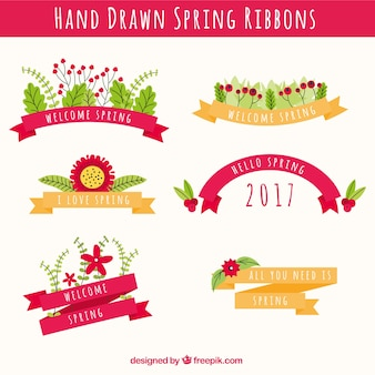 Pack of 2017 spring ribbons with flowers