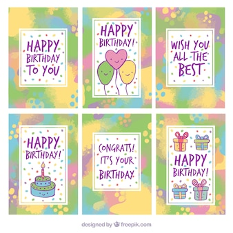 Pack of abstract birthday cards with paint stains