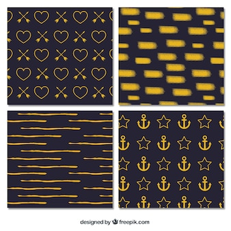 Pack of abstract golden patterns