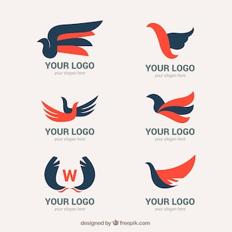 Pack of abstract logos with wings