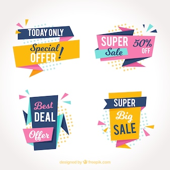 Pack of abstract sale stickers