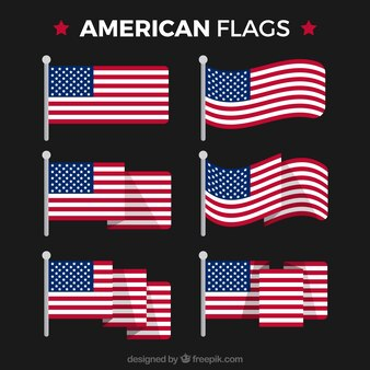 Pack of american flags in flat design