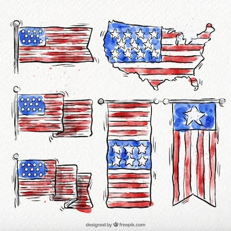 Pack of american hand drawn watercolor banners
