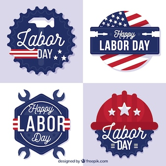 Pack of american labor day stickers