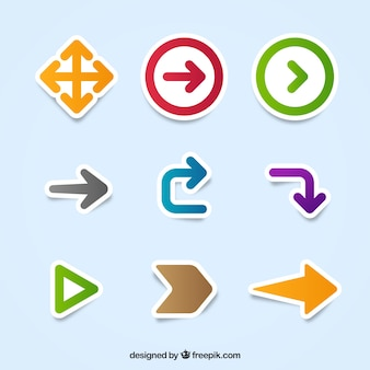 Pack of arrows stickers of different shapes