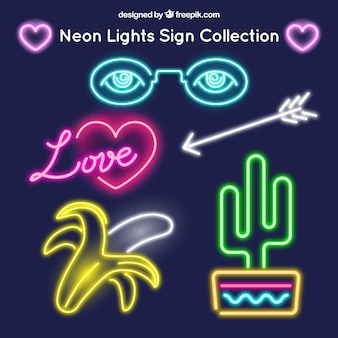 Pack of assorted neon signs