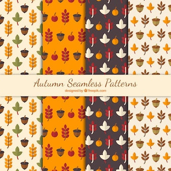 Pack of autumnal patterns in flat style
