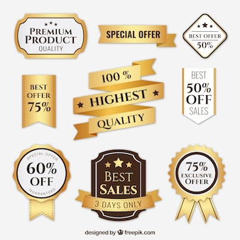 Pack of badges golden and premium products ribbons