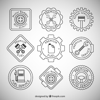 Pack of badges related to mechanics and gas station