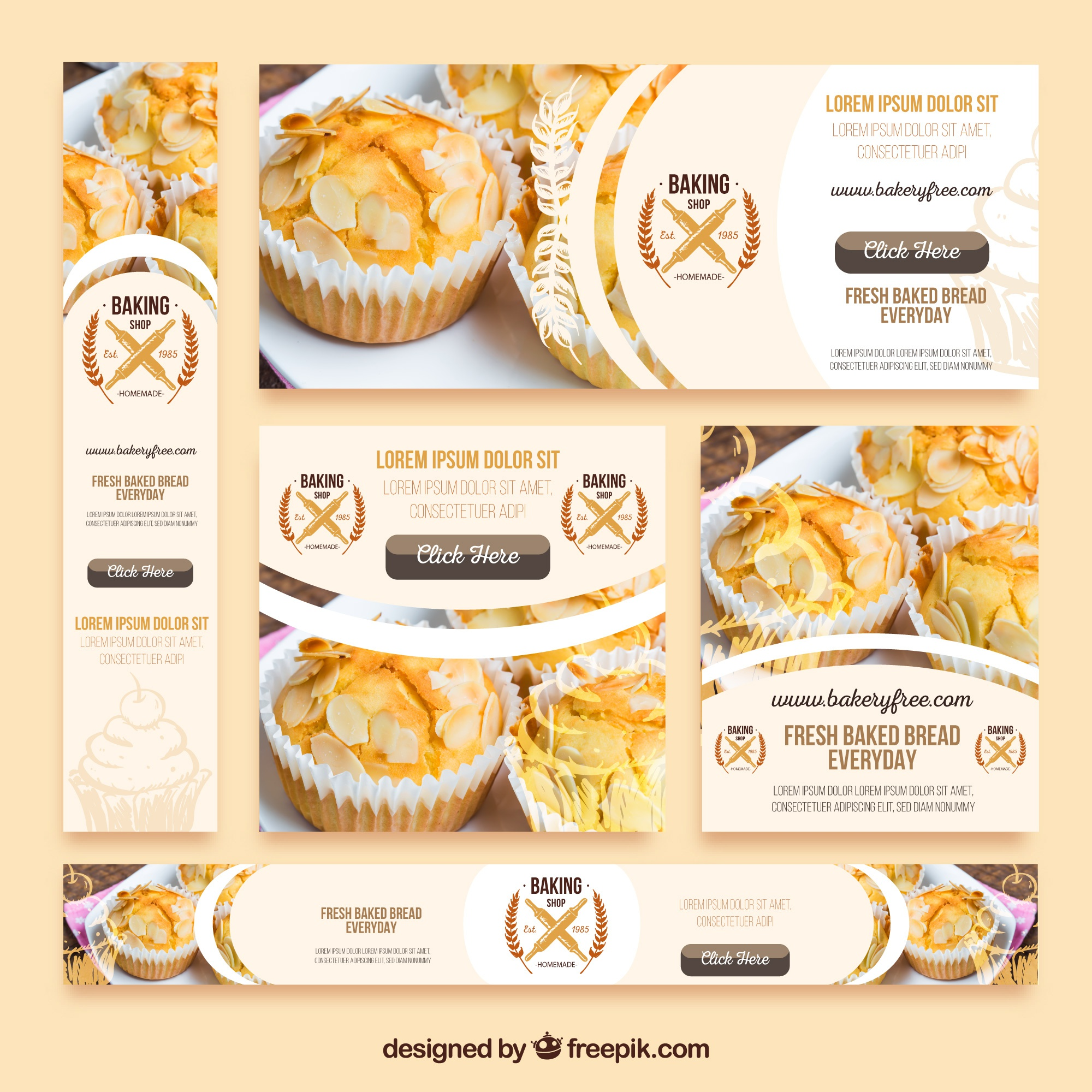 Pack of bakery banners