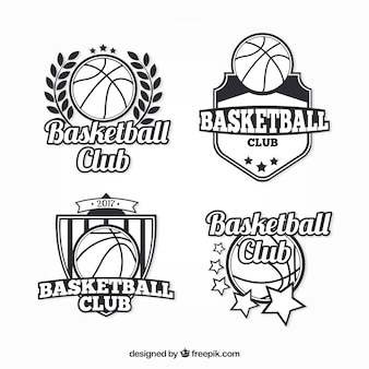 Pack of basketball badges in retro style