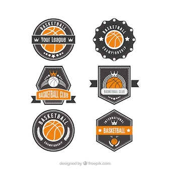 Pack of basketball logos with orange details