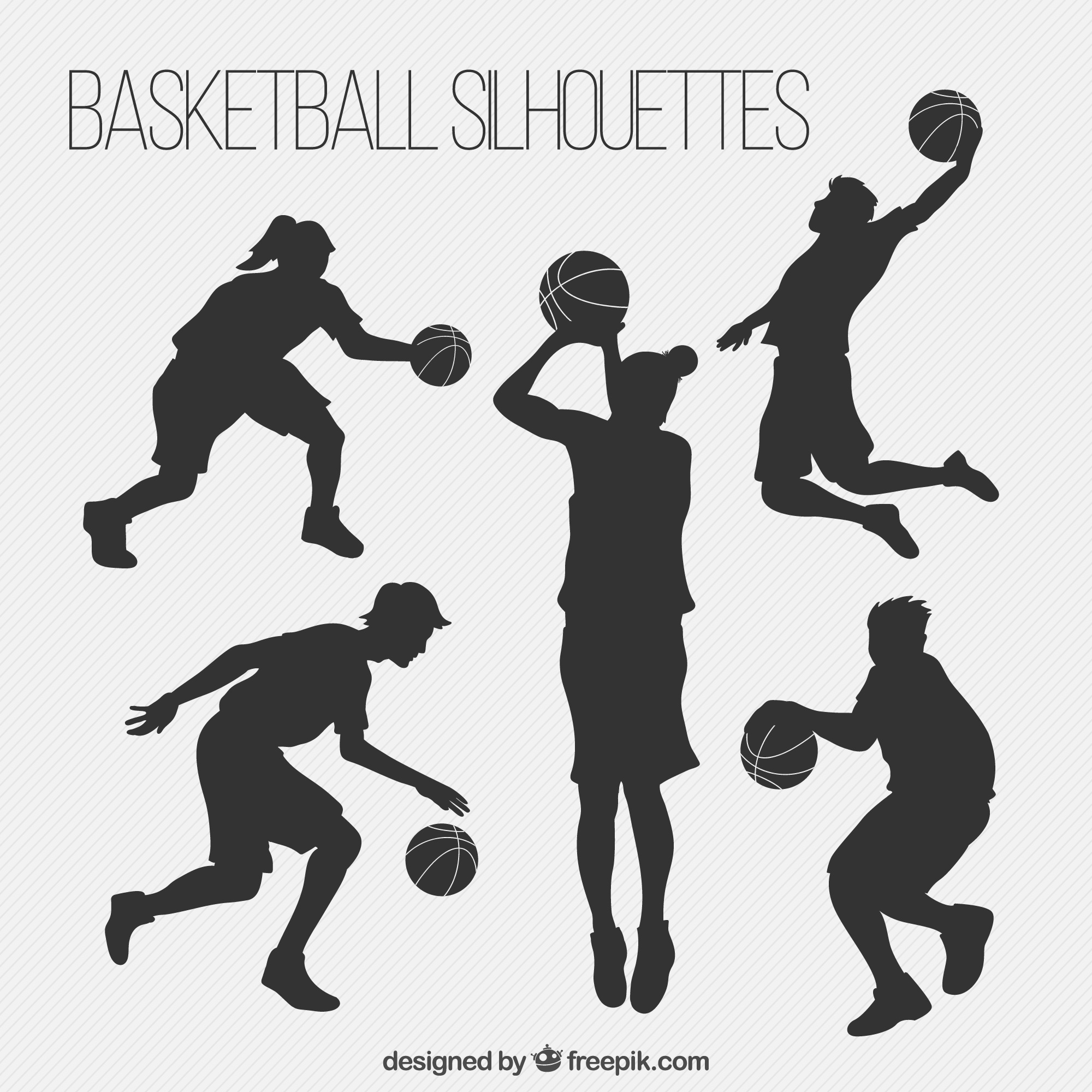 Pack of basketball players silhouettes