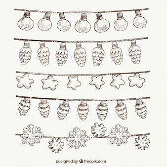 Pack of beautiful garlands of christmas lights drawn by hand