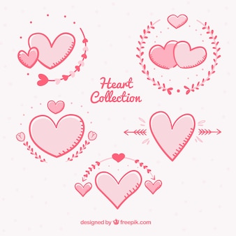 Pack of beautiful hand drawn hearts