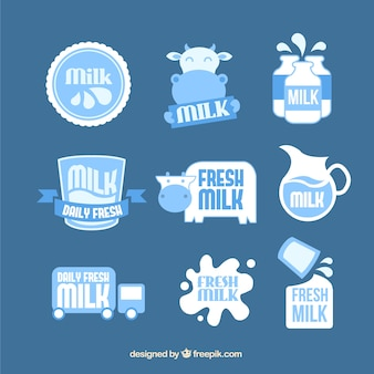 Pack of beautiful milk product stickers