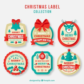 Pack of beautiful retro christmas tags