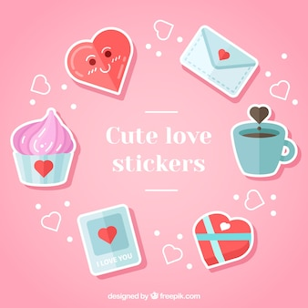 Pack of beautiful romantic stickers