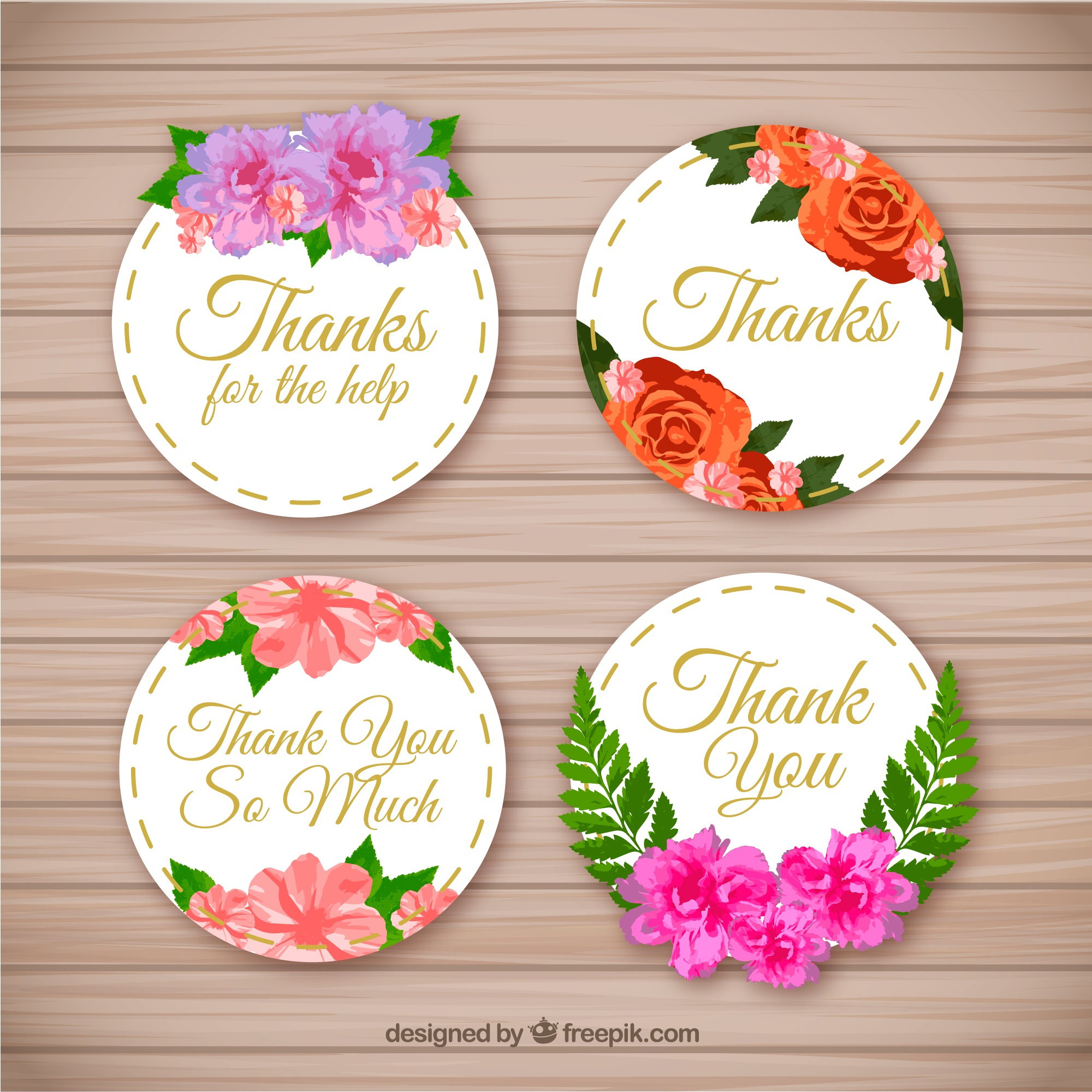 Pack of beautiful thank you stickers with flowers