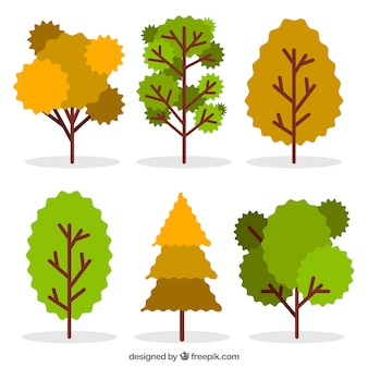 Pack of beautiful trees in flat design