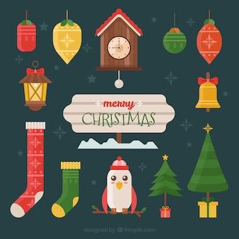 フラットデザインの美しいヴィンテージクリスマスのパック