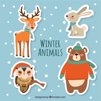Pack of beautiful winter animal stickers