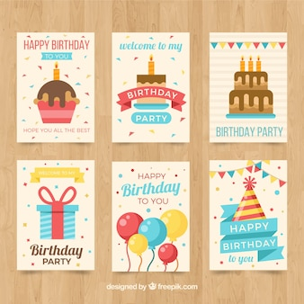 Pack of birthday cards in flat design