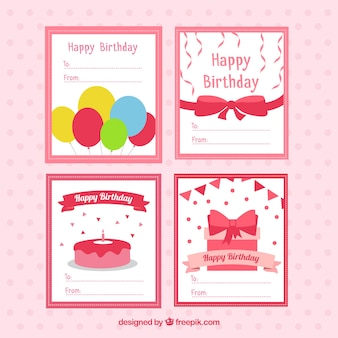 Pack of birthday cards with party elements