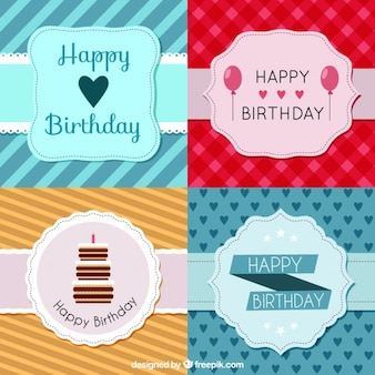 Pack of birthday cards with vintage badge