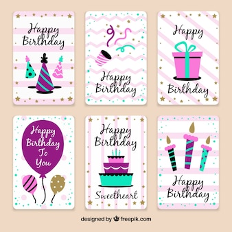 Pack of birthday celebration cards in vintage style
