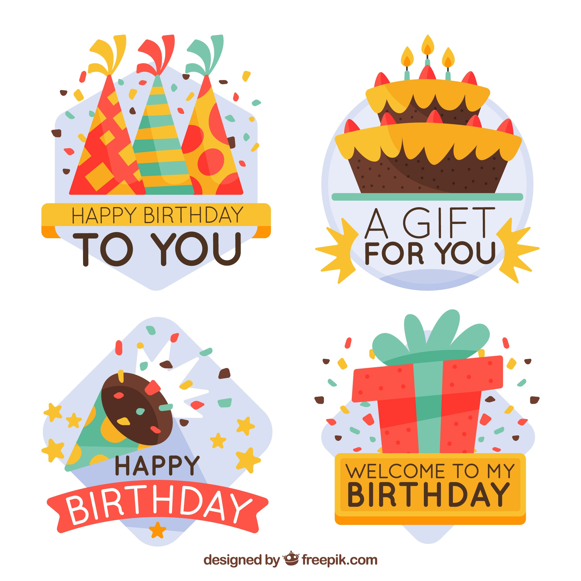 Pack of birthday party stickers