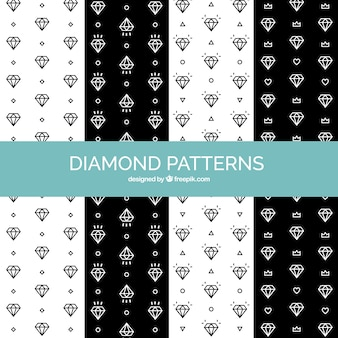 Pack of black and white diamond patterns