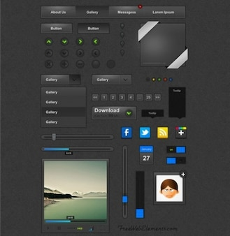 Pack of black custom web UI elements