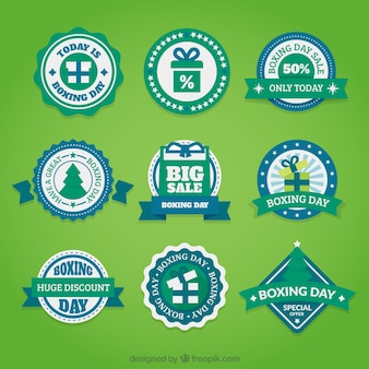 Pack of blue and green boxing day badges