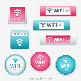 Pack of blue and pink wifi buttons