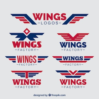 Pack of blue and red wings logos