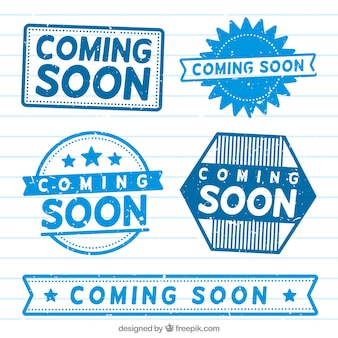 Pack of blue coming soon stickers