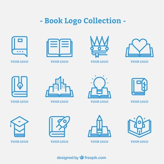 Pack of book logos in flat design