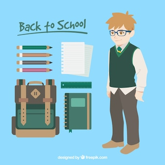 Pack of boy with backpack and other elements in flat design