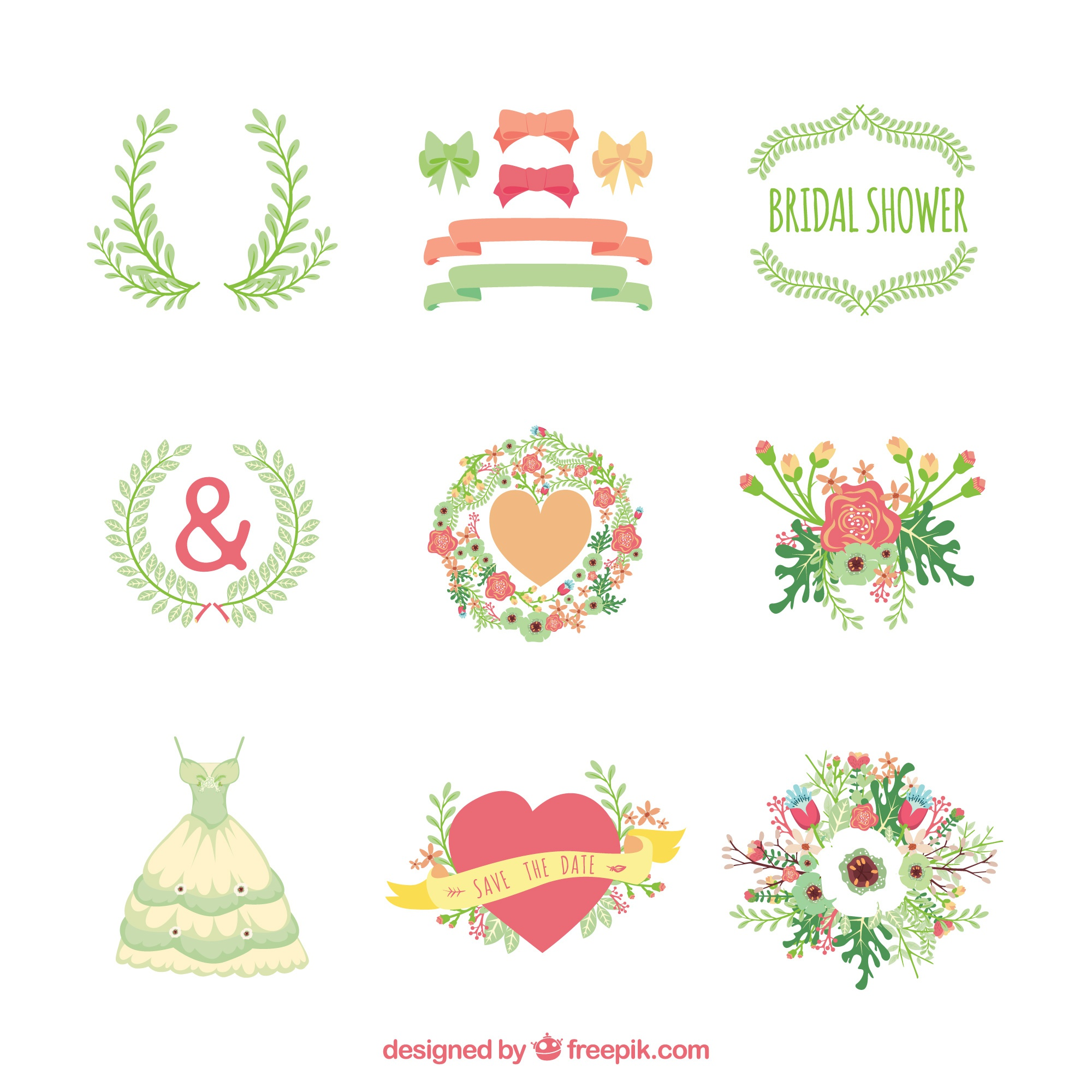 Pack of bridal ornaments in flat design
