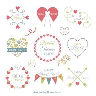 Pack of bridal shower elements in flat design