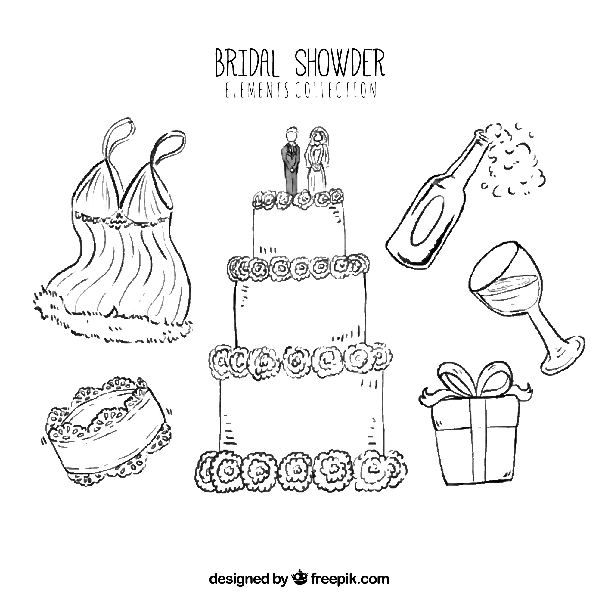 Pack of bridal shower elements in hand-drawn style