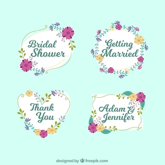 Pack of bridal shower frames with purple and orange flowers