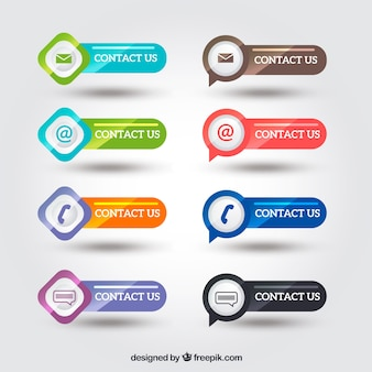 Pack of bright contact buttons