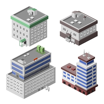 Pack of buildings in isometric style